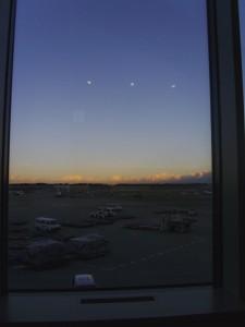 The view at the seats at Narita.