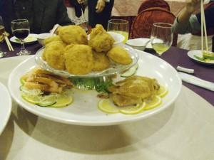 Dish 2: Coquettes, chicken, crab, sausage