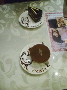 Tiramisu and Cake with Decorative Syrup