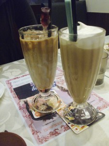 Rose latte and Cosic iced coffee